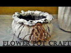 (6) Çimento Kumaşla Saksı Yapımı-2 & DIY Flower pot with Cement and Fabric - YouTube Cement Flower Pots, Diy Concrete Planters, Concrete Garden, Diy Planters, Cabin Crafts, Diy Crafts For Home Decor, Diy Arts And Crafts, Plaster Crafts, Concrete Crafts