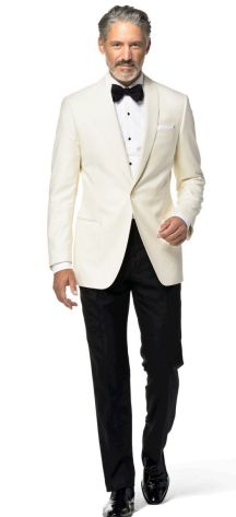 Ivory Revenge Solid Perfect Dinner Jacket for the - White Party - Wedding Reception Wear it with Black or Midnight Blue Tuxedo trousers Prom Tuxedo, Tuxedo Wedding, Wedding Suits, Ivory Tuxedo, White Tuxedo, Creative Black Tie, Dinner Jacket, Dinner Suit, Blue Tuxedos