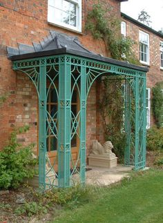 A lead roofed metal porch to a bespoke design.