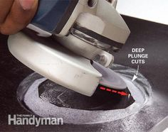 How to Cut Tile With a Grinder. Make the angle cuts. Read more: http://www.familyhandyman.com/tiling/tile-installation/how-to-cut-tile-with-a-grinder/view-all