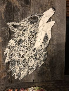 Wolf made from broken plates and barn board!