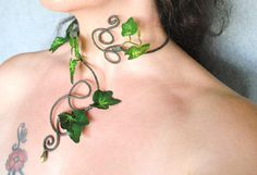 Ivy leaves necklace choker ideal for poison ivy, mother nature goddess, tree people, woodland fairy forest elf with my distinctive swirl design and a delicate crystal drop bead hanging at the bottom swirl ORDERING This is adjustable wire to fit around your neck but you can give me a