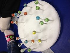 "Occupational Therapy Birthday Cake! Have kids hammer golf tees into styrofoam, then have then use a pincer grasp to balance marbles on top of tees. Once all marbles are in place, ""blow out the candles!"" Great for eye-hand coordination, proprioception, pincer grasp, and deep breathing."