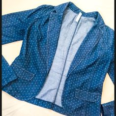 "Polka Dot Blazer This is such a funky blazer. It is made of a jean-like material and features small, white polka dots. The front has 2 faux pockets. This used to be my favorite blazer, but haven't worn it in a while. Size small and fits true to size.                   Length of sleeves 26"".                                            Length from shoulder to bottom hem 20"".            Some signs of ware. Xhilaration Jackets & Coats Blazers"