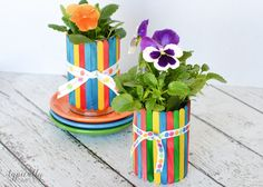 A colorful project to make with the kids, these craft stick flower pots are no-mess! A perfect handmade gift to give for Mother's Day or Teacher Appreciation.