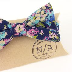 Navy Blue Pink Turquoise Floral Bow Tie Mens pretied by NACreates
