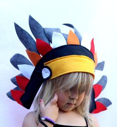 Full Feathered Headdress Felt Costume