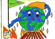 Digimon Masters: Save our Earth Poster Making Contest!for posture making Global Warming Drawing, Global Warming Poster, Easy Drawings For Kids, Drawing For Kids, Save Earth Drawing, World Environment Day Posters, Save Earth Posters, Earth Drawings, Doodle Drawings