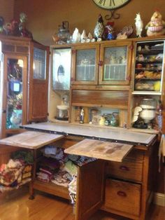 Antique Kitchen Cabinet Complete With Two Cutting Boards A Flour Bin With Sifter And Sugar Storage Bread Drawer Pie Safe Spice Rack