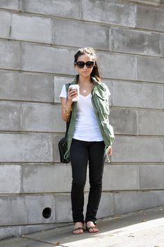 let's try the old black jeans with my khaki jacket. do the jeans boyfriend style.