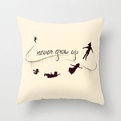 Peter Pan Never Grow Up Cushion Throw Pillow Various Sizes on Etsy, $28.44 CAD