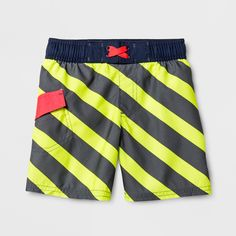 6edf23f338 Toddler Boys' Stripe Swim Trunks - Cat & Jack Gray 4T Toddler Swimming,