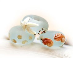 Seaglass look Large hole beads Water blue by MayaHoneyJewelry,