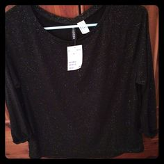 H&M shirt New with tags! Black shimmery shirt. Perfect for a night out. H&M Tops Blouses