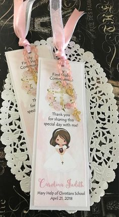 Girl's First Communion Favor, Baptism, Bookmark, Remembrance Card with Mini Rosary – Wedding Favors Tags Communion Party Favors, First Communion Decorations, First Communion Cards, Holy Communion Invitations, Communion Gifts, Baptism Favors, Baptism Party, First Holy Communion, Communion Dresses