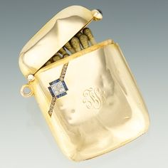 antique matchbox- gold with sapphire and diamonds