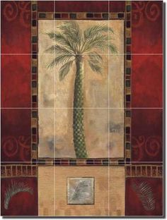 "A Palm Tree I by Louise Montillio - Tropical Palm Ceramic Tile Mural 24"" x 18"" Kitchen Shower Backsplash by Artwork On Tile. $185.00. 24"" tall x 18"" wide Ceramic Tile Mural on 6"" Architectural Grade Ceramic Tile w/Satin Finish. Individually handcrafted and made with highest quality materials and workmanship. Perfectly suitable for kitchen backsplash, behind a stove, in shower or spa, or other interior space. Wide Selection of Artwork - 100% Quality and Satisfaction Guarante..."