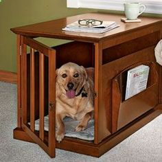 Dogs hideaway is also a lovely and practical piece of furniture for the living room, bedroom or family room. Plenty of air circulation for your dog, and lots of tabletop space for you. If youre son inclined you could probably build this yourself.