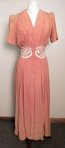 Vtg 40s Peach NIP Waist Dress Styled by Saybury Costume Study | eBay