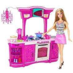 Brinquedo Barbie Kitchen Play Set Glam Kitchen #Brinquedo #Barbie