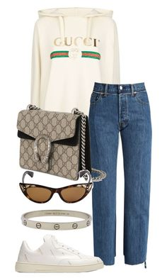 """Look:#566"" by dollarwomanlux ❤ liked on Polyvore featuring Gucci, Vetements, Balenciaga and Cartier"