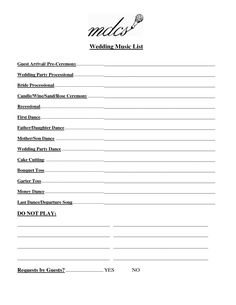 How To Plan Your Wedding Reception Music Printable List I Do Pinterest And Weddings