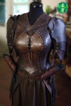 "Female armor / corset ""Cybele full set"" Larp Original Cosplay Costume - Female armor / corset set full of Cybele Leather Armor, Leather Corset, Leather And Lace, Costume Original, Armor Clothing, Female Armor, Armor Concept, Medieval Costume, Full Set"
