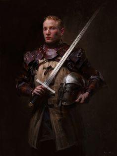 Knight by Liu Xiao Fantasy Warrior, Fantasy Rpg, Medieval Fantasy, Fantasy Artwork, Dark Fantasy, Warhammer Fantasy, Character Inspiration, Character Art, Character Design