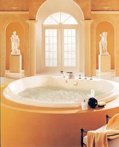 "Neptune Cleopatra Activ-Air Tub 76-1/4"" Round X 24""- CL76A  #BathroomRemodel #BathtubIdeas #DropInBathtub"