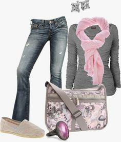 Casual Outfit: jeans, tight grey long sleeved t shirt with cotton candy pink knit scarf. Fall fashion trends 2014