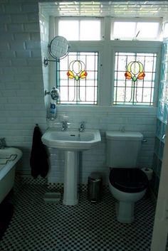 Bathroom stained glass window.