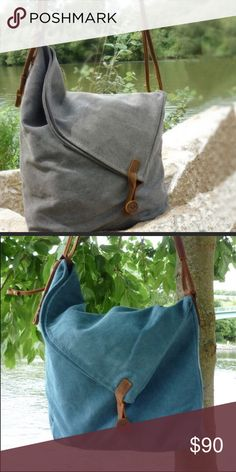 Canvas and Leather Bags - reduced shipping offer. One each - Gray and Blue:  plus the main listing will have a Gray available.  I will wait for a Go ahead to drop this!! ❤️ Bags Crossbody Bags