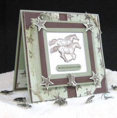 Ride 'Em Cowboy by pam124 - Cards and Paper Crafts at Splitcoaststampers (Nice layout for guy cards)