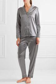 Poppy Snoozing printed stretch-silk crepe de chine pajama set