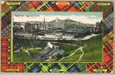 Vintage tartan-border postcard of Edinburgh as seen from Edinburgh Castle, Scotland. Tartans of clans Cameron, Stewart, Macdonald, Macintosh, Gordon and Fraser.