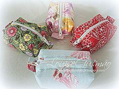 Arte Em Fuxico e Cia: Mine Necessaire Box Porta batom ou moedas em algodão 100%.  Dimensões 9 X 7 X 4 cm.