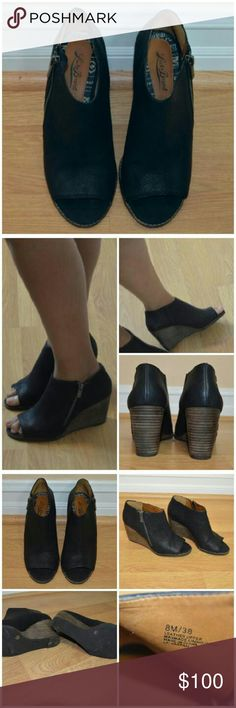 """Lucky Brand Wedges Lucky Brand wedges. Open toe. Soft leather. Zipper is on the outer part of shoe.  Worn once for a few hours.  I love this shoe. It's so comfortable and stylish. Sadly it's a bit too small for me. No box. No damage. Like-new condition.   Size: 8. Color: Black & Brown. Heel height: 3"""" Lucky Brand Shoes Wedges"""