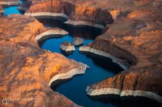 Lake Powell - An aerial view over Lake Powell in Arizona in late afternoon light.
