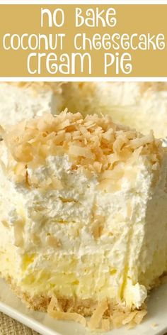 Coconut Cheesecake Cream Pie — no-bake pie recipe, coconut cream pie w/ a cheesecake twist; -easy & simple thanks to the coconut pudding mix & Nilla wafer crust… no-bake pie perfect to make the day ahead to save time! Coconut Desserts, Easy Desserts, Delicious Desserts, Lemon Desserts, Summer Desserts, Healthy Desserts, Coconut Pudding, Pie Coconut, Easy Coconut Cream Pie