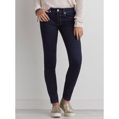 American Eagle Skinny Super Stretch Jeans Worn only once! Super comfortable, simple and versatile solid blue jeans, size 2. American Eagle Outfitters Jeans Skinny