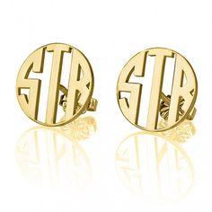 24K Gold Plated Stud 3 Letter Capital Border Monogram Earrings