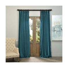 Half Price Drapes Peacock Vintage Textured Faux Dupioni Silk Single... ($56) ❤ liked on Polyvore featuring home, home decor, window treatments, curtains, tab curtains, faux dupioni silk curtains, pleated draperies, pleated curtains and rod pocket curtains