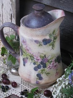 "Кухня ручной работы. Ярмарка Мастеров - ручная работа ""Blackberries""  Кувшин.. Handmade."