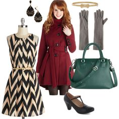 Holiday colors. Vintage Inspired #ModCloth Outfit