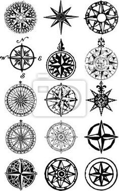 "Wall Mural ""compass, rose, map - wind roses - nautical compass vector grunge collection"" ✓ Easy Installation ✓ 365 Day Money Back Guarantee ✓ Browse other patterns from this collection! Nautical Compass Tattoo, Compass Tattoo Design, Nautical Tattoos, Compass Drawing, Geometric Tattoos, Compass Art, Triangle Tattoos, Body Art Tattoos, New Tattoos"