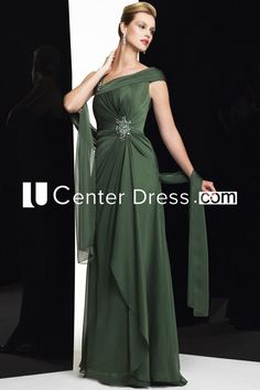 $125.89-Modern Sheath Maxi Broach Chiffon Green Long Mother of the Groom Dress With Cap-Sleeves. http://www.ucenterdress.com/sheath-cap-sleeve-maxi-broach-chiffon-formal-dress-with-draping-pMK_300227.html.  Tailor Made mother of the groom dress/ mother of the brides dress at #UcenterDress. We offer a amazing collection of 800+ Mother of the Groom dresses so you can look your best on your daughter's or son's special day. Low Prices, Free Shipping. #motherdress