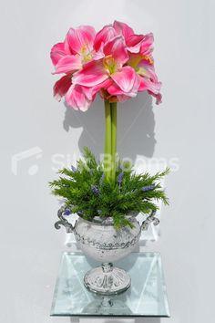 Elegant Artificial Pink Amaryllis, Fern and Heather Floral Display w/ Grecian Vase #artificialflowers #wedding #weddingflowers #bouquet #flowers #bridal #silkflowers