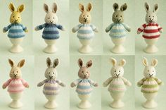 Pattern for a knitted bunny egg cosy.
