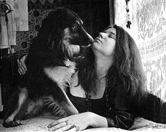 Janis Joplin & her dog.  I can't believe how much her dog, looks like my old dog Lucky!  They could be twins!!