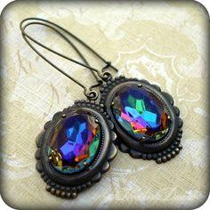 Warped Glass: vitrail vintage glass framed long earrings